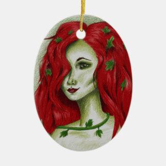 Efeu-Nympheredhead-Fantasie-ursprüngliche Ovales Keramik Ornament