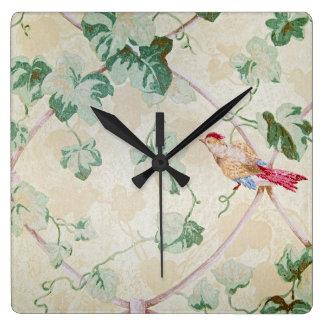 Efeu und Vogel entwerfen Retro Tapete Quadratische Wanduhr
