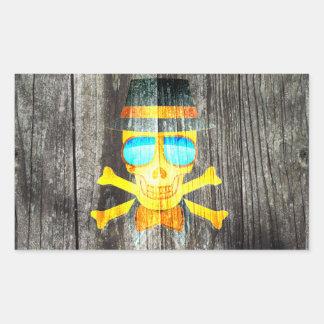 Effet d'arrière - plan gris en bois de crâne de sticker rectangulaire