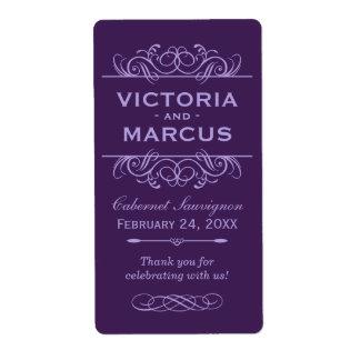 Eggplant Wedding Wine Bottle Monogram Favor