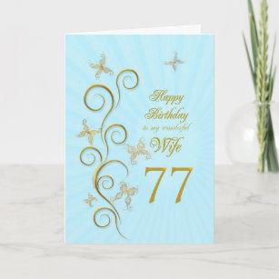 Ehefrau-77. Geburtstag mit goldenen Karte