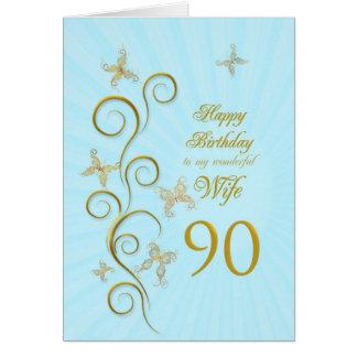 Ehefrau-90. Geburtstag mit goldenen Karte