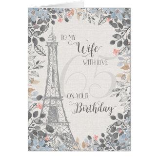 Ehefrau-romantischer 65. Geburtstags-Eiffel-Turm Karte