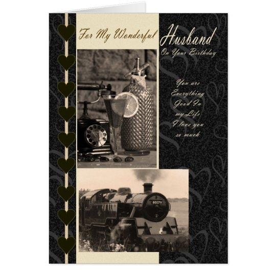 Ehemann, Geburtstags-Ehemanndampfzug Karte