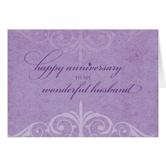 Ehemann-Hochzeitstag-Feier-Lavendel Karte