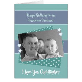 Ehemann-personalisiertes grünes Geburtstags-Foto Karte
