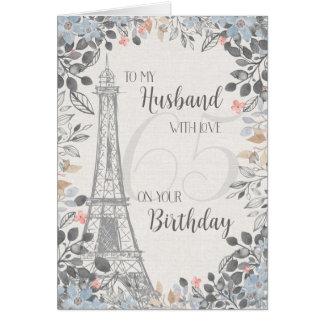 Ehemann-romantischer 65. Geburtstags-Eiffelturm Karte
