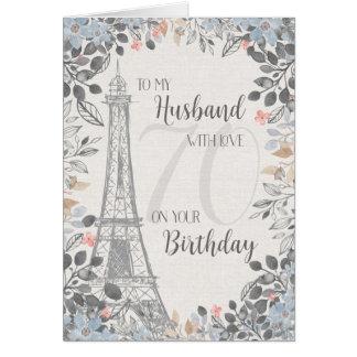 Ehemann-romantischer 70. Geburtstags-Eiffelturm Karte