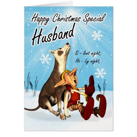 Ehemann-Weihnachtskarte niedlich, Gesanghund und Grußkarte