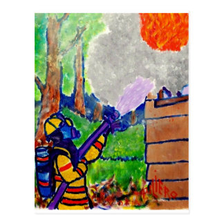 Ehrerbietung zu den Feuerwehrmännern durch Piliero Postkarten