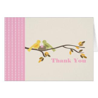 Ei-Rosa-Fall der Mama-u. Vati-Vogel-w danken Ihnen Karte