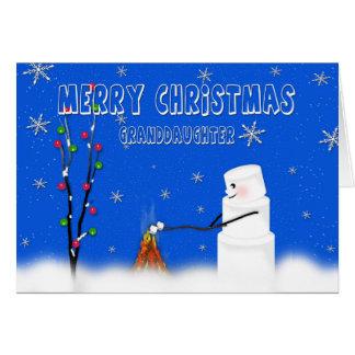 Eibisch (Schneemann) Enkelin-Weihnachten-Spaß Karte