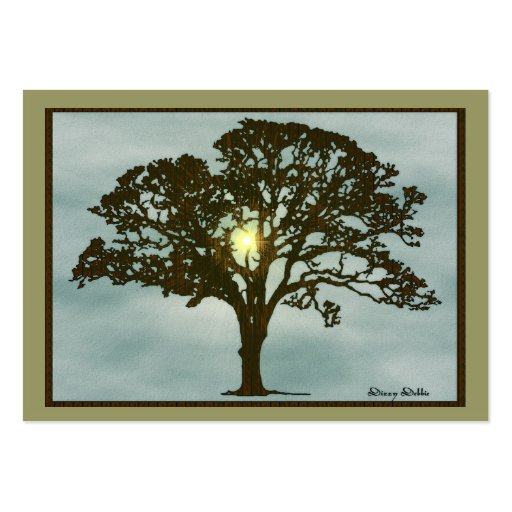 Eiche an der Sonnenuntergang-Kunst-Karte Mini-Visitenkarten
