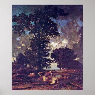 Eichen an der Unterseite durch Jules Dupre Poster