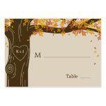 Eichen-Baum-Hochzeit im Herbsts-flache Platzkarten Visitenkartenvorlagen