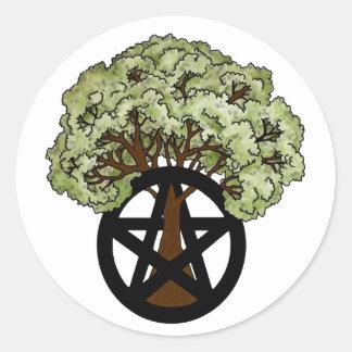 Eichen-Baum und Heide-Pentagramm Runder Aufkleber