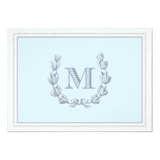 Eichen-Blatt-Kranz-Monogramm-doppelseitiges 12,7 X 17,8 Cm Einladungskarte