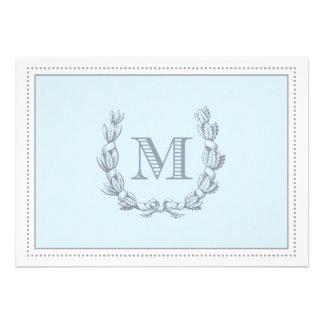 Eichen-Blatt-Kranz-Monogramm-doppelseitiges Einladungen