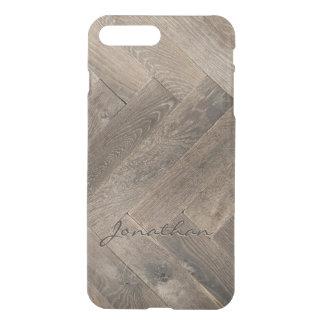 Eichen-Holz-Zickzack-Muster-Monogramm iPhone 7 Plus Hülle
