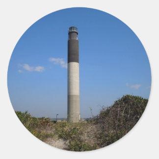 Eichen-Insel-Leuchtturm, North Carolina Runder Aufkleber