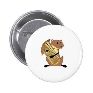 Eichhörnchen, das den Euphonium spielt Runder Button 5,1 Cm