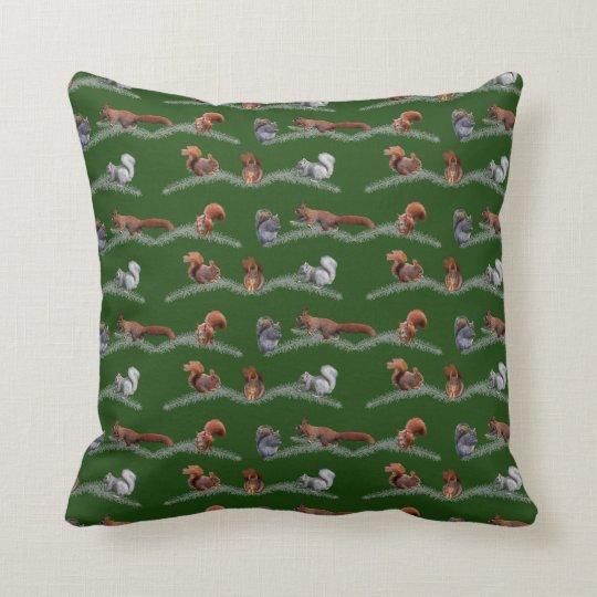 Eichhörnchen-Raserei-Kissen (dunkelgrün) Kissen