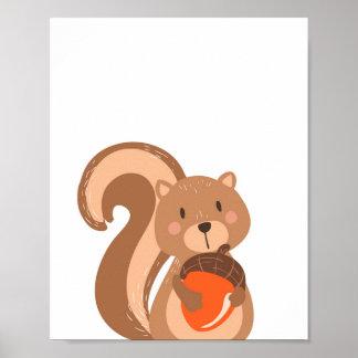Eichhörnchen-WaldtierKinderzimmer-Wand-Kunst-Druck Poster