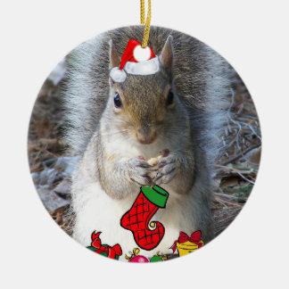 Eichhörnchen-Weihnachtsverzierung Rundes Keramik Ornament