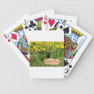 Eier im Kasten auf Gras mit gelben Narzissen Pokerkarten