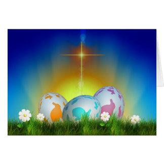 Eier, Sonnenaufgang und Querostern Grußkarte