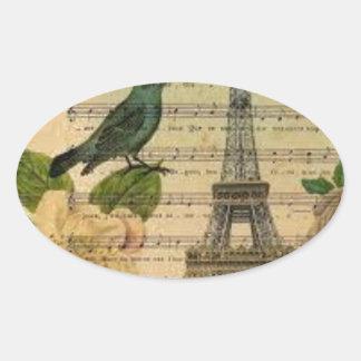 Eiffel Tower Vintage Paris Ovaler Aufkleber
