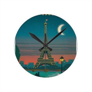 Eiffel Tower Vintage Paris Runde Wanduhr