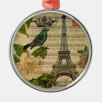 Eiffel Tower Vintage Paris Silbernes Ornament