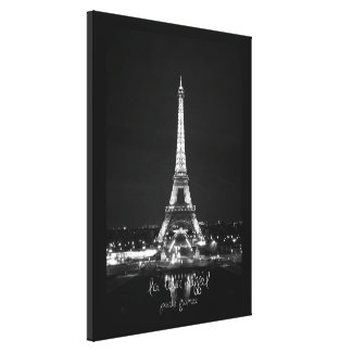 Eiffel-Turm nachts B&W auf eingewickelter Leinwand