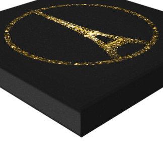 Eiffel-TurmgoldGlitter-Glitzern auf Schwarzem Leinwanddruck