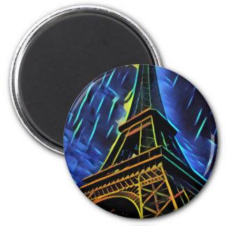 Eiffelturm-Blau Runder Magnet 5,1 Cm