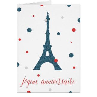Eiffelturm-Franzose-Geburtstag Karte