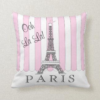 Eiffelturm Ooh La-La des Rosa-| weißes Paris Kissen