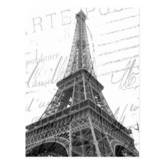 Eiffelturm-Postkarte, schwarz u. Weiß, vertikal Postkarte