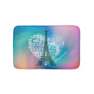 Eiffelturm u. Aufschriften Paris im Herzen Badematte