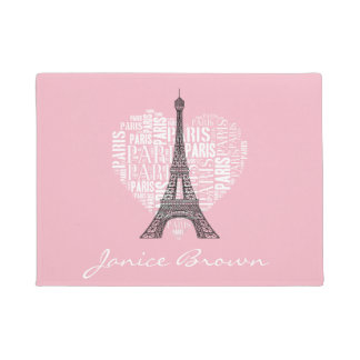 Eiffelturm u. Aufschriften Paris im Herzen Türmatte