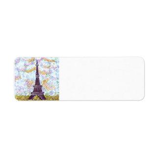 EiffelturmPointillismhimmelgras-Adressen-Etiketten