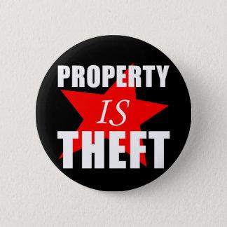 Eigentum ist Diebstahl Runder Button 5,7 Cm