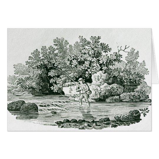 Ein Angler in einem Fluss-Pool, von 'Briten Karte