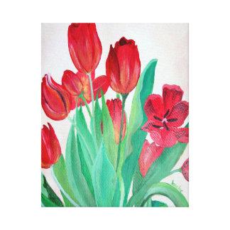 Ein Blumenstrauß der roten Tulpen Leinwanddruck