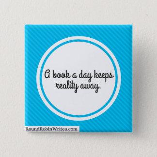 Ein Buch ein Tag (Knopf) Quadratischer Button 5,1 Cm