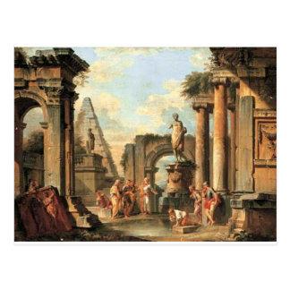Ein Capriccio der klassischen Ruinen mit Diogenese Postkarte