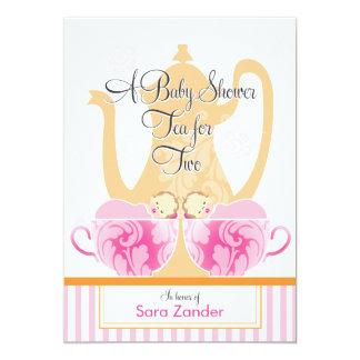 Ein Doppelmädchen des Baby-Duschen-Tee-Party-| 12,7 X 17,8 Cm Einladungskarte
