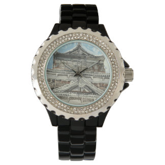 Ein einer netten Hiroshima-Schloss-Japan-Uhr Armbanduhr