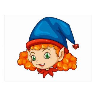 Ein Elf, der einen blauen Hut trägt Postkarte